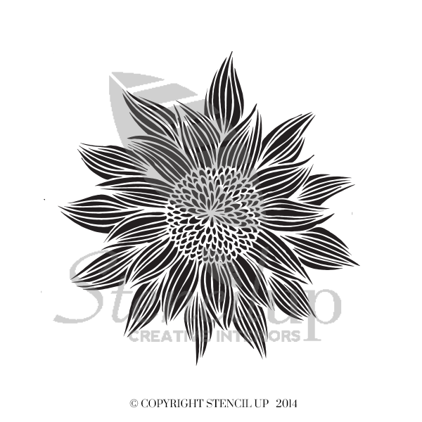 SUNFLOWER Wall Stencil - Stencil Up