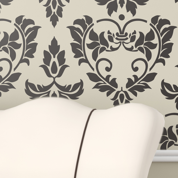 DAMASK HEARTS Wall Stencil - Stencil Up