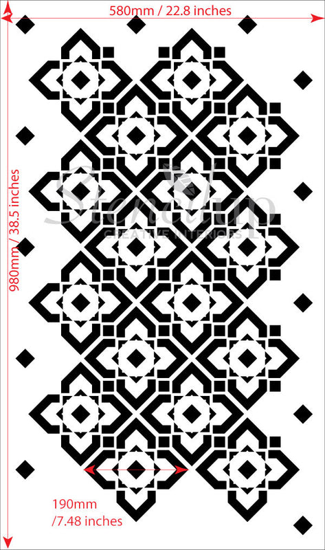 DIAMOND LATTICE Wall Stencil - Stencil Up