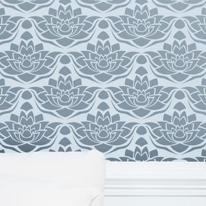 Lotus Flower painted wall stencil