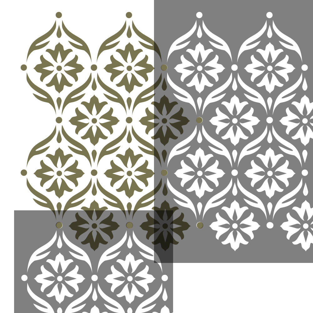 SIMPLE DAMASK Wall Stencil - Stencil Up