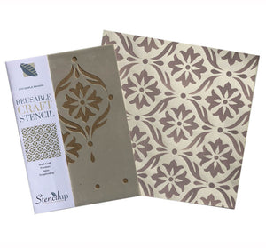 Simple Damask A4 craft stencil