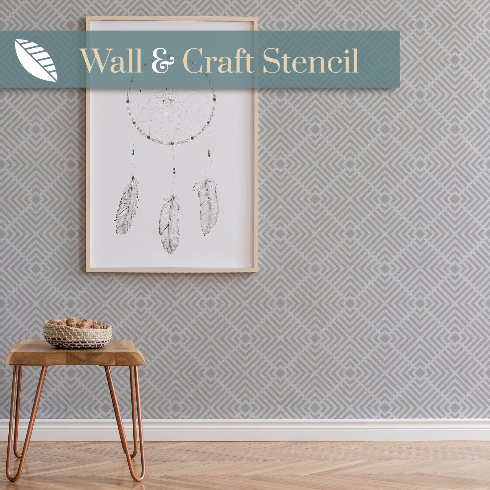 geometric wallpaper stencil