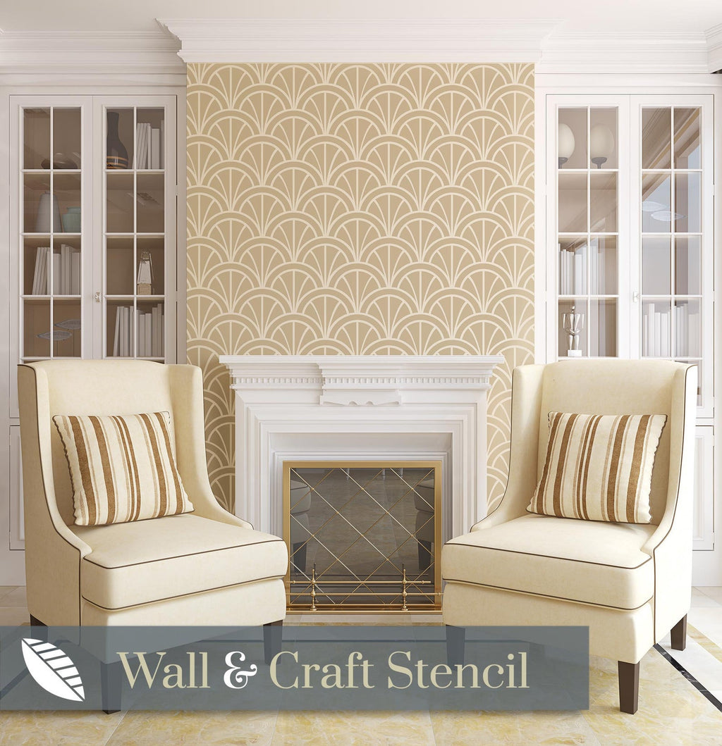 modern art deco wallpaper stencil