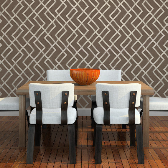 HERRINGBONE Wall Stencil - Stencil Up