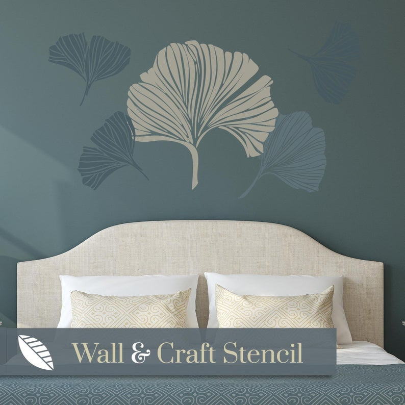 ginkgo leaf feature wall stencil