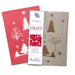 Christmas tree craft stencil - repeating pattern