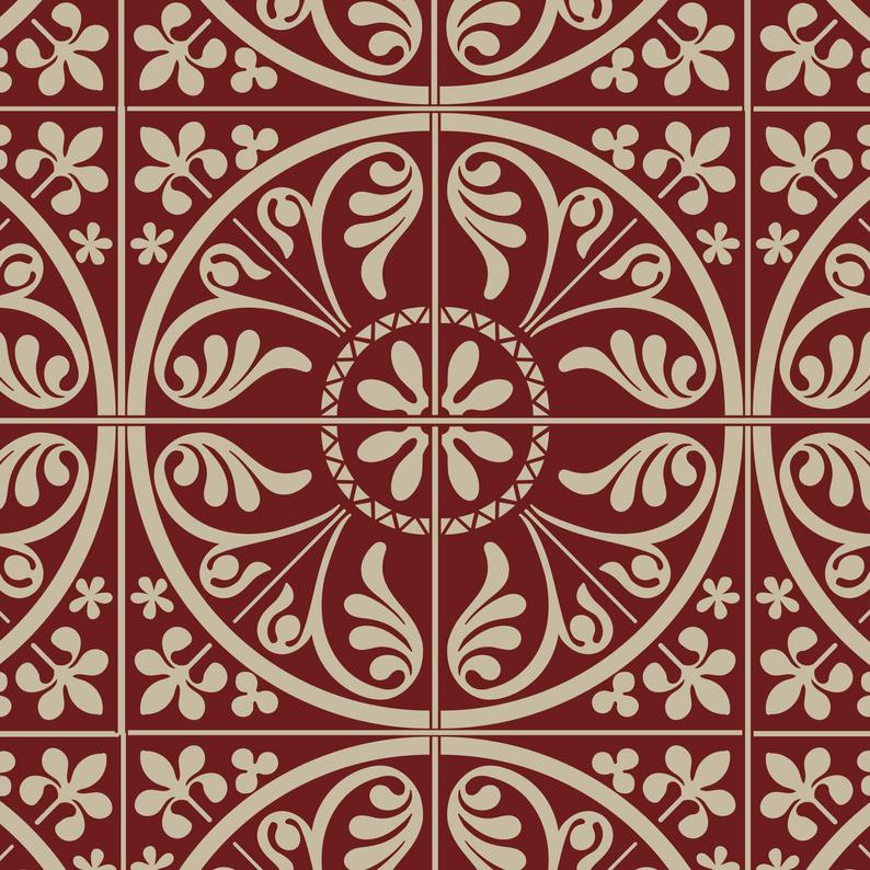 victorian tile stencil for painting on tiles