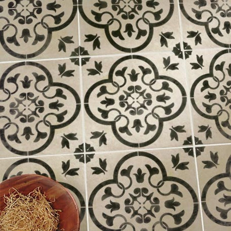Toledo Tile Stencil for Walls and Floors