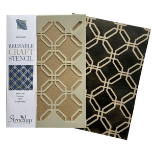 Shoji Oriental lattice stencil for crafts and painting - stencilup.co.uk