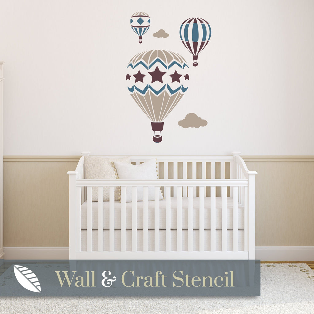 Hot Air Balloons Wall Stencil