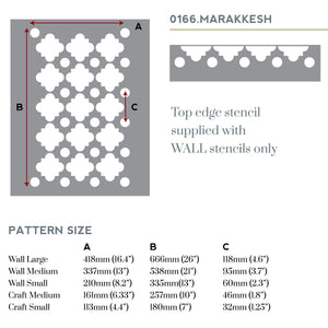 Marakkesh wall stencil sizes
