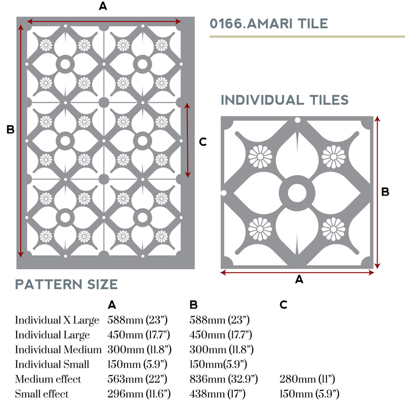 Amari tile stencil measurements