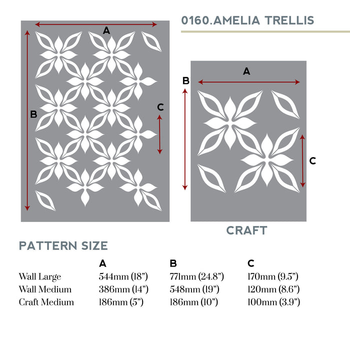Amelia floral trellis wall stencil measurements