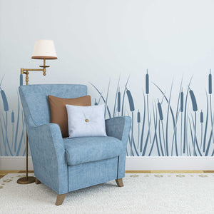 bulrush floral wall stencil - stencil.co.uk