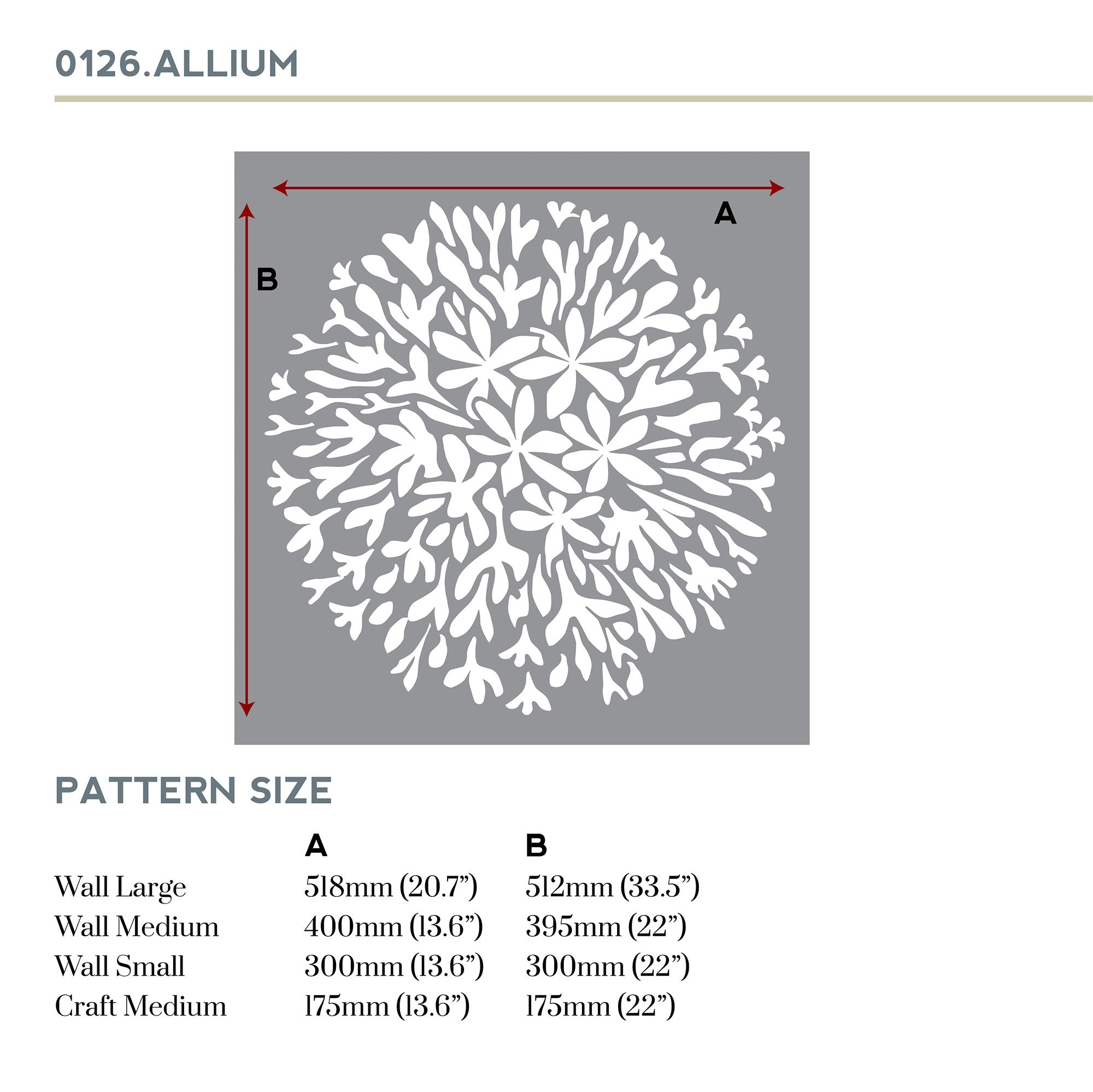 Allium stencil measurements