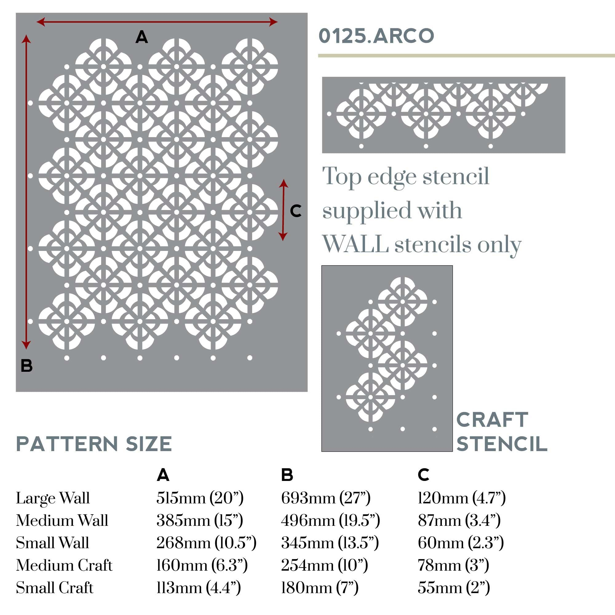Arco lattice wall stencil measurements