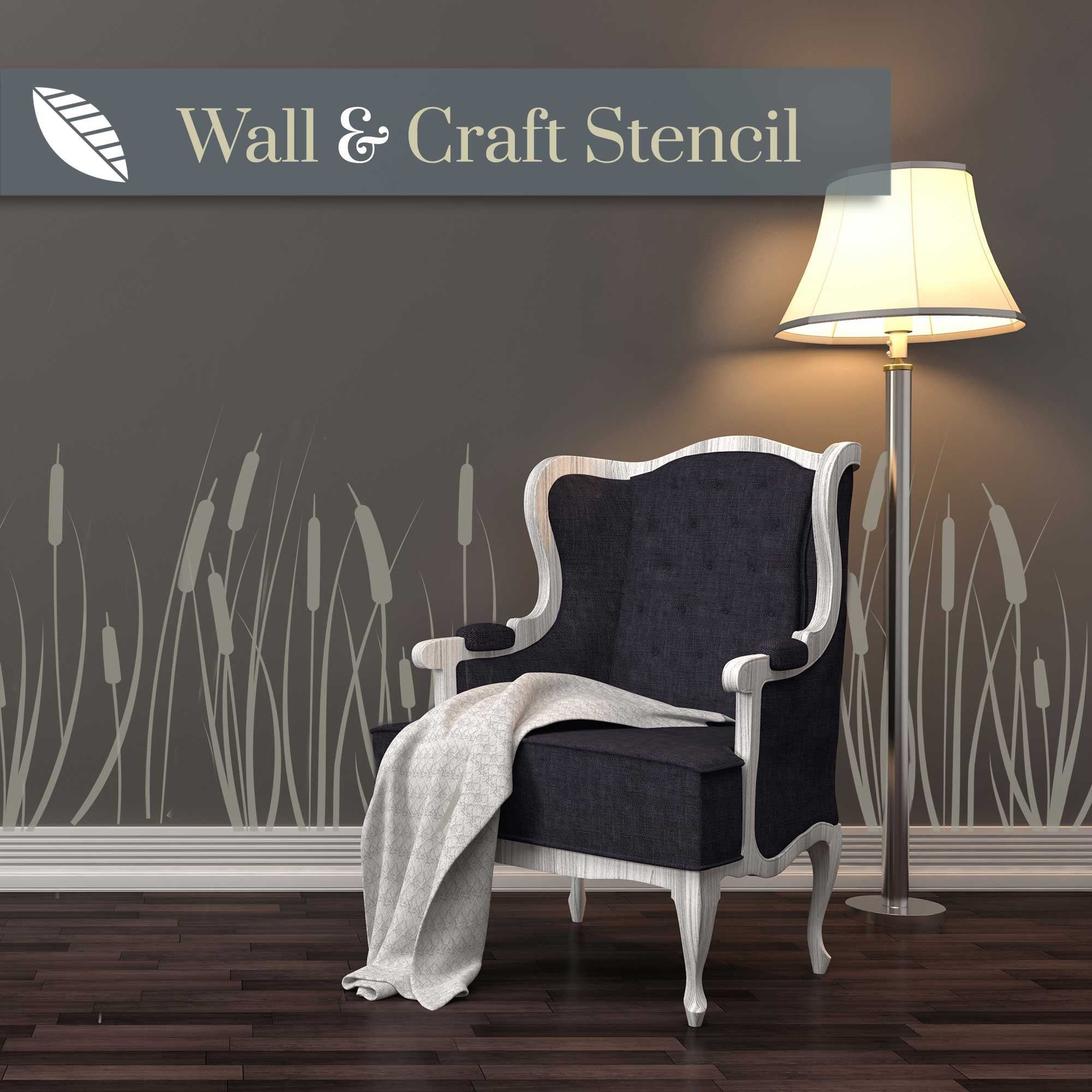cattail wall stencil - stencil.co.uk