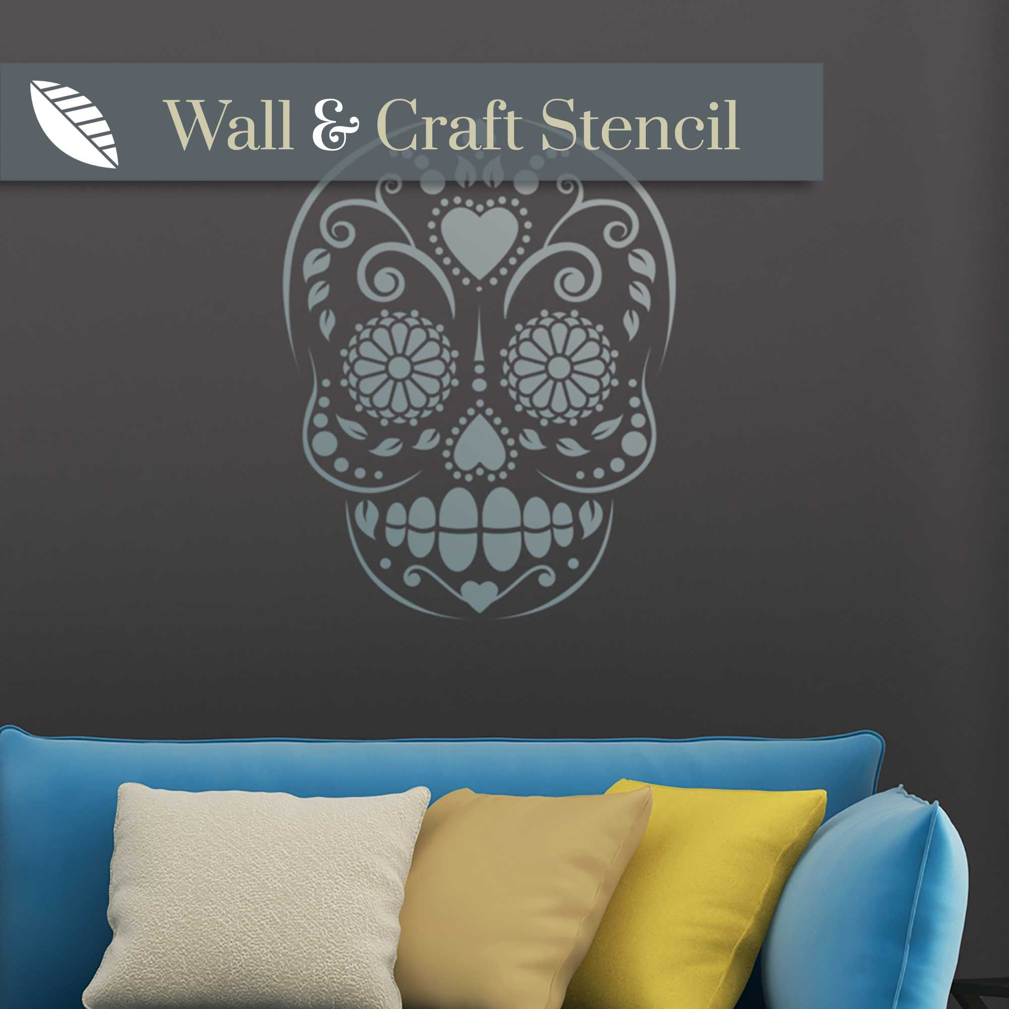 candy skull wall stencil - stencil.co.uk