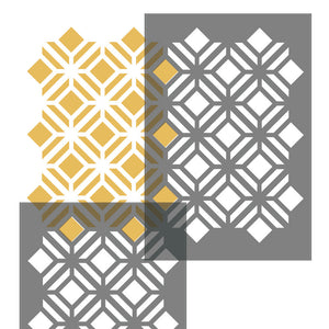TILTED SQUARE LATTICE Wall Stencil - Stencil Up