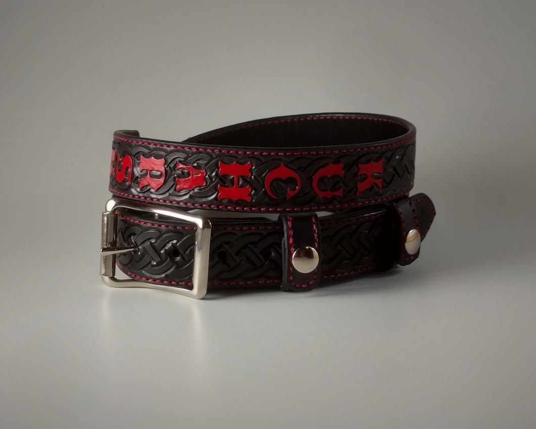 Custom Leather Radio Strap Celtic Knot Pattern
