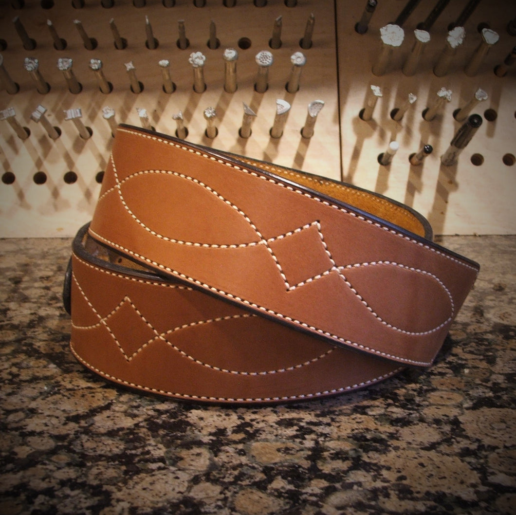 Chestnut Diamond Stitched Guitar Strap