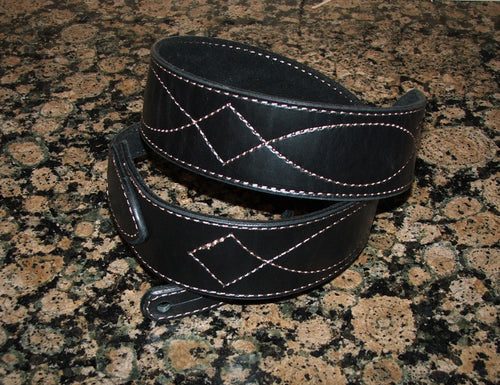 Black Guitar Strap Brown Diamond Stitch