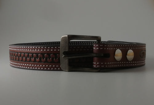 Custom Leather Belt Double Stitched Meander Stamped Pattern