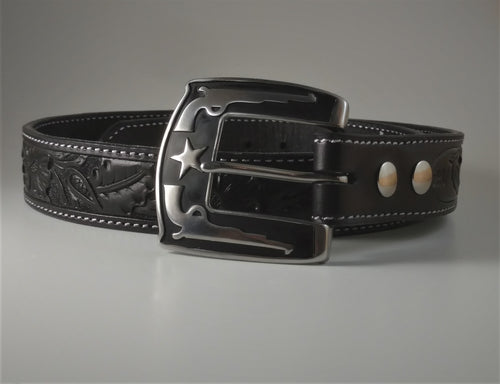 Custom Leather Belt Western Floral