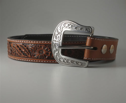 Custom Leather Belt Sunflower Pattern