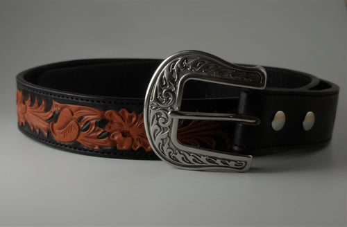 Custom Leather Belt Sheridan Floral Pattern