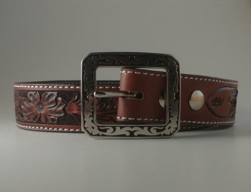 Custom Leather Belt Sheridan Swirl