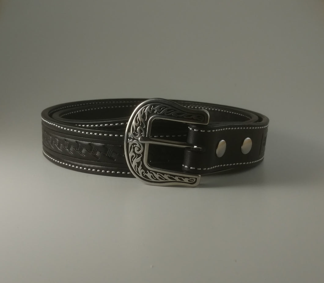 Custom Leather Belt Angled Basketweave Pattern