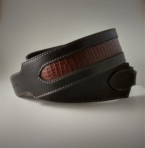 Crocodile Inlayed Guitar Strap
