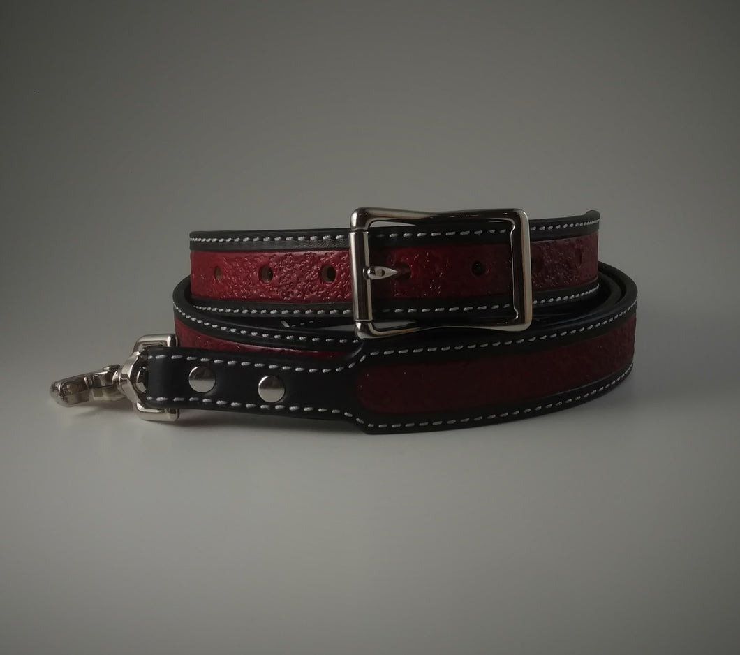 Custom Textured Red and Black Radio Strap