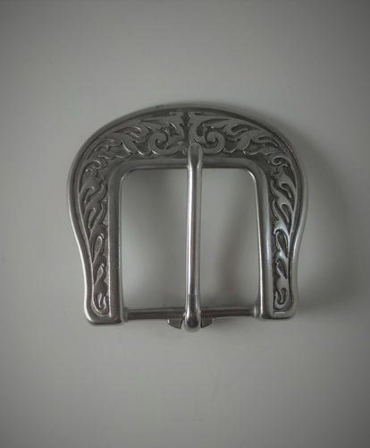 Floral Heal Bar Buckle Silver