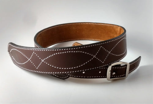 Brown Guitar Strap White Diamond Stitch