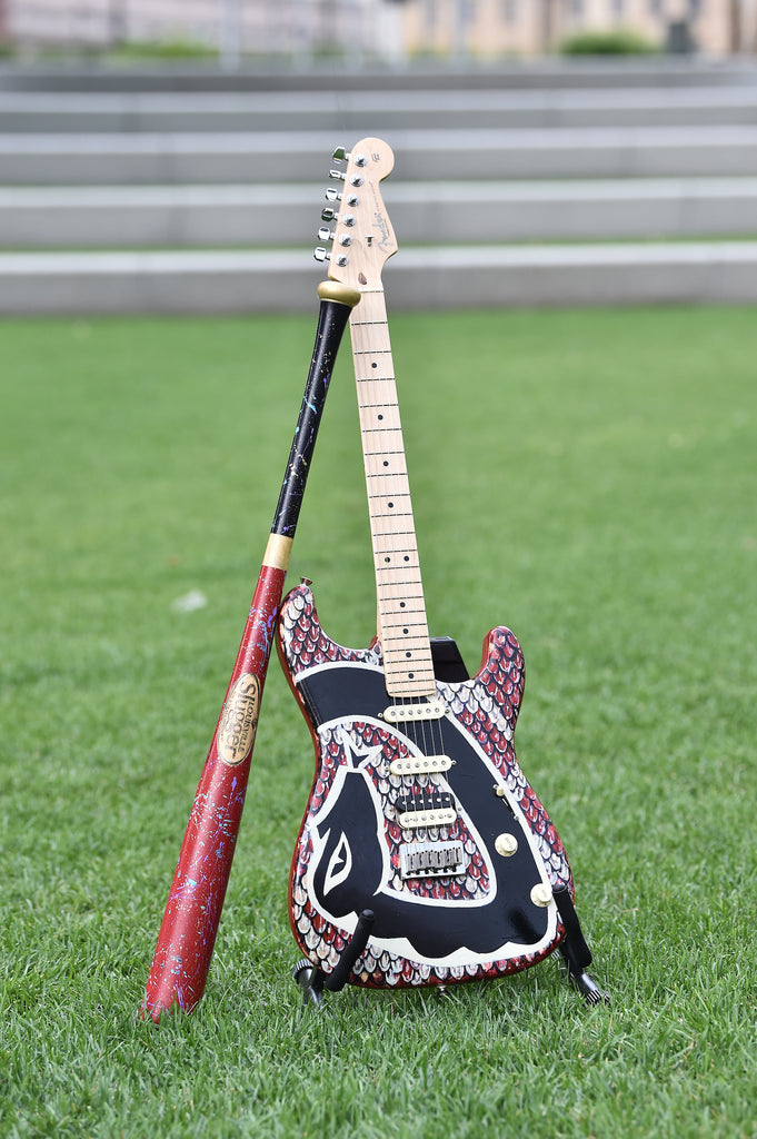 Robert Hurst's Artist-Painted D-backs Louisville Slugger Bat and Fender Guitar