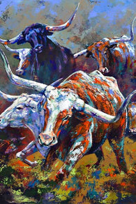 Artwork featuring Texas Longhorn Cattle by Robert Hurst
