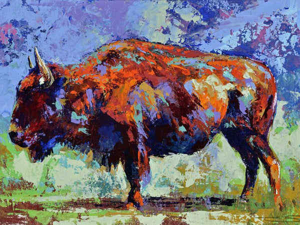 Buffalo Splash fine art print, limited edition canvas giclee by Robert Hurst