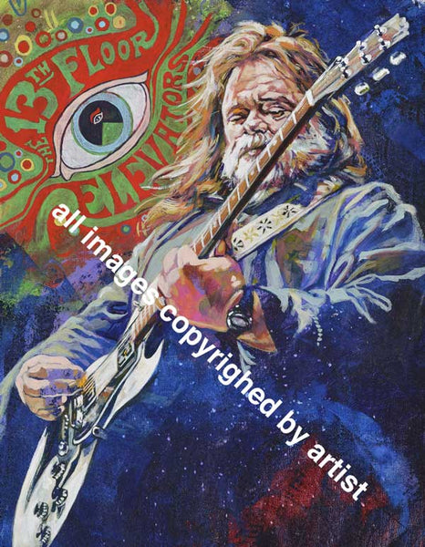 Roky Erickson The 13th Floor Elevators original painting featuring Erickson by Robert Hurst
