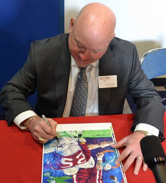 Tony Franklin signing official Texas Sports Hall of Fame print by Robert Hurst