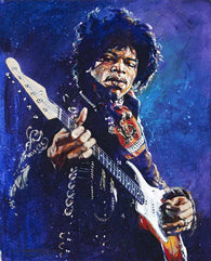 Jimi Hendrix in Blue original painting featuring Hendrix by Robert Hurst