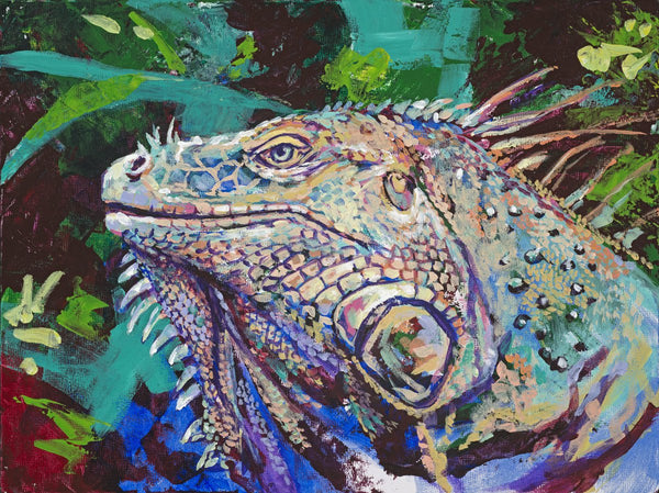 Iggy Pop AKA Iggy the Iquana limited edition canvas giclee print featuring an iguana