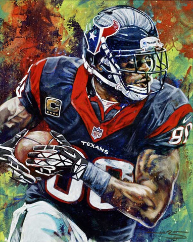 Andre Johnson original painting featuring Johnson by Robert Hurst signed by Johnson