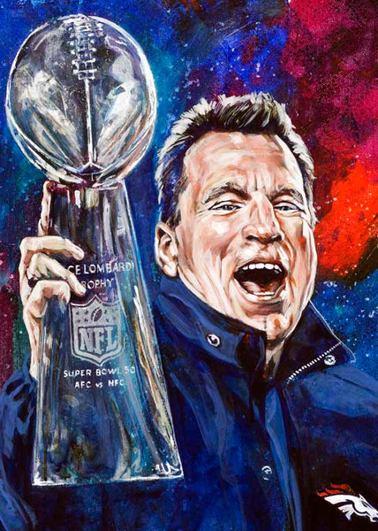 Gary Kubiak autographed limited edition fine art print signed by Kubiak