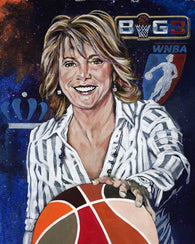 Nancy Lieberman original painting featuring Lieberman by Robert Hurst signed by Lieberman