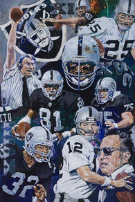 Oakland Raiders History limited edition canvas giclee print featuring the Raiders
