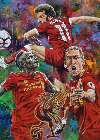 Liverpool Football Club AKA Liverpool Soccer fine art print featuring Mohamed Salah, Sadio Mane and Roberto Firmino