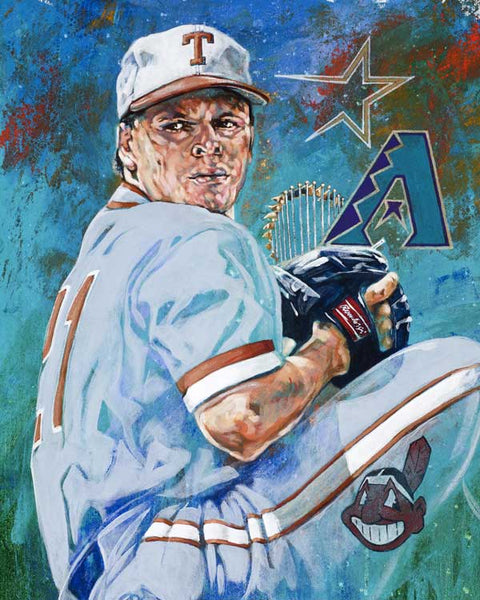 Greg Swindell original painting featuring Swindell by Robert Hurst signed by Swindell